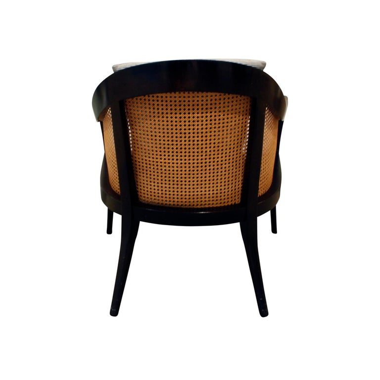 Hand-Crafted Harvey Probber Elegant Pair of Lounge Chairs with Caned Backs and Sides, 1950s For Sale