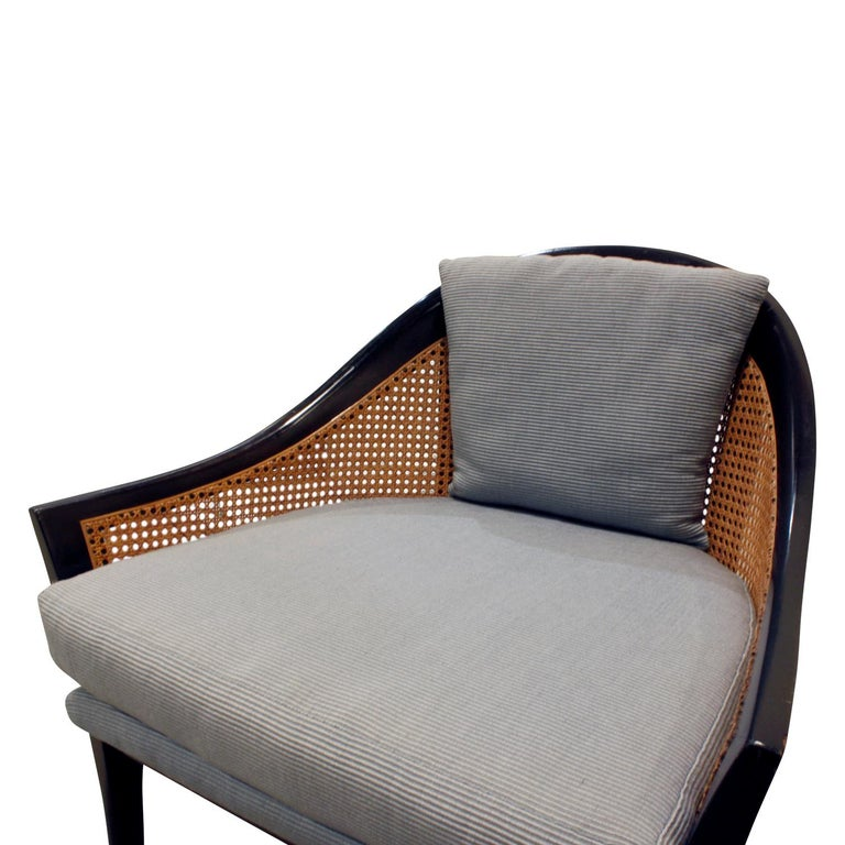 Harvey Probber Elegant Pair of Lounge Chairs with Caned Backs and Sides, 1950s In Excellent Condition In New York, NY