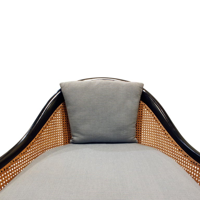 Mid-20th Century Harvey Probber Elegant Pair of Lounge Chairs with Caned Backs and Sides, 1950s