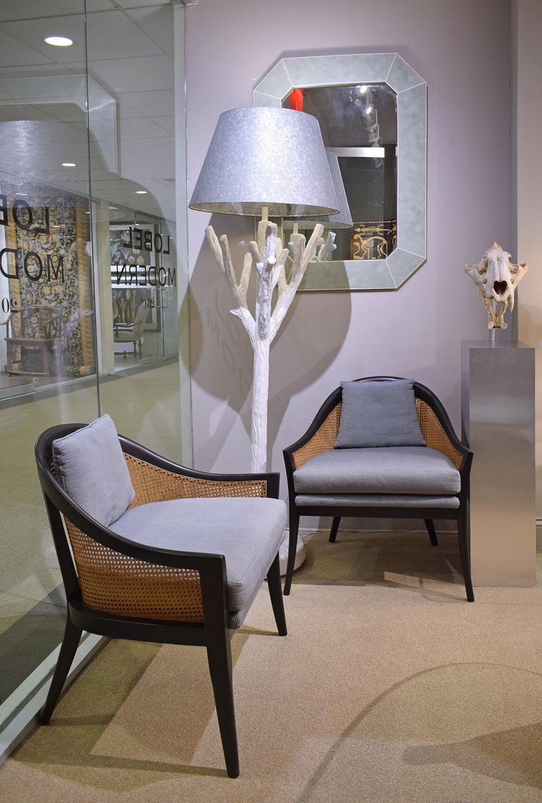Harvey Probber Elegant Pair of Lounge Chairs with Caned Backs and Sides, 1950s 1