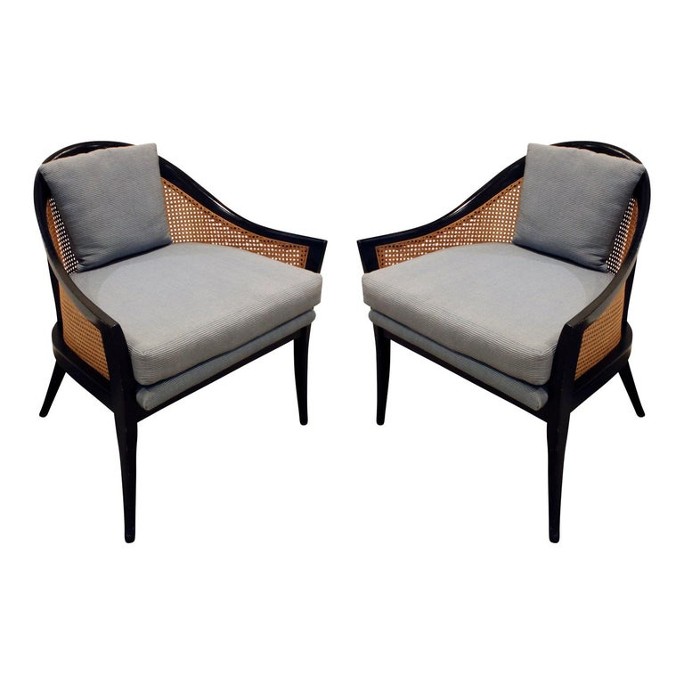 Harvey Probber Elegant Pair of Lounge Chairs with Caned Backs and Sides, 1950s