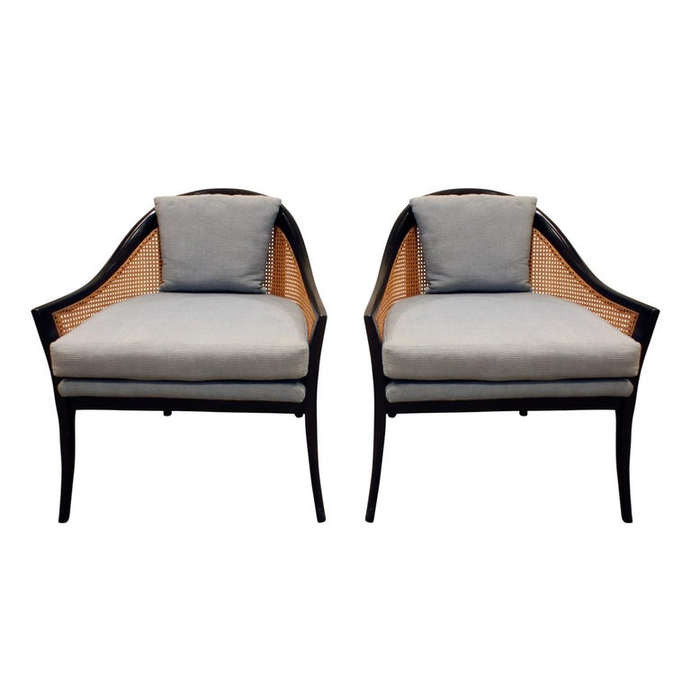 Harvey Probber Elegant Pair of Lounge Chairs with Caned Backs and Sides, 1950s For Sale
