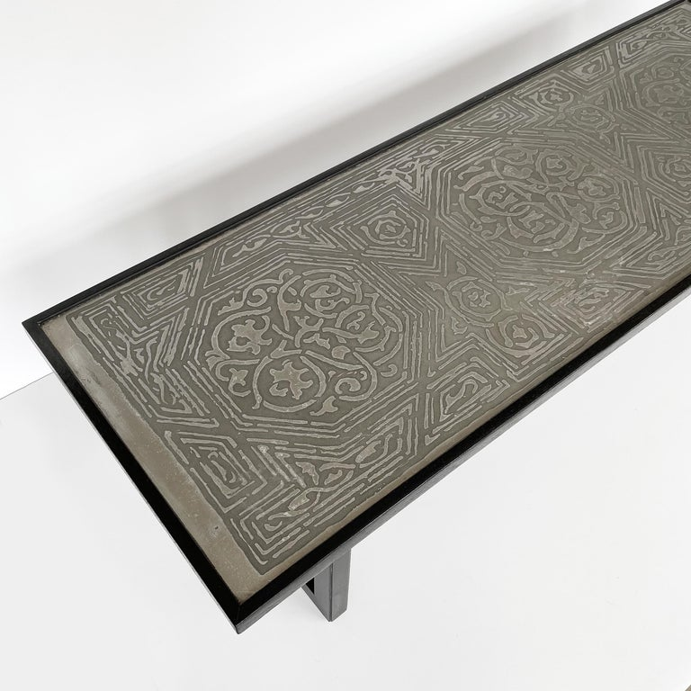 Harvey Probber Etched Metal Top Coffee Table For Sale 3