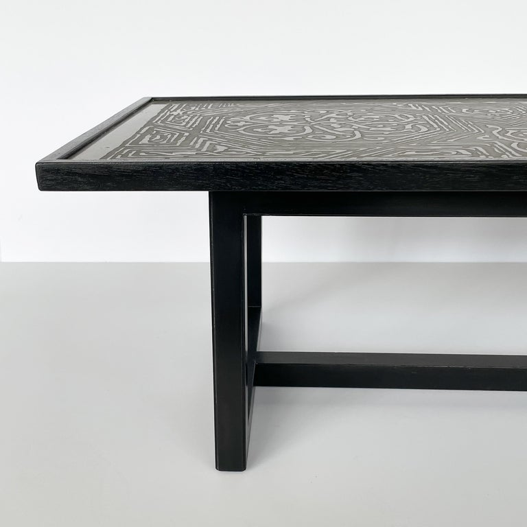 Harvey Probber Etched Metal Top Coffee Table For Sale 4