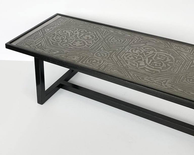 Harvey Probber Etched Metal Top Coffee Table For Sale 8