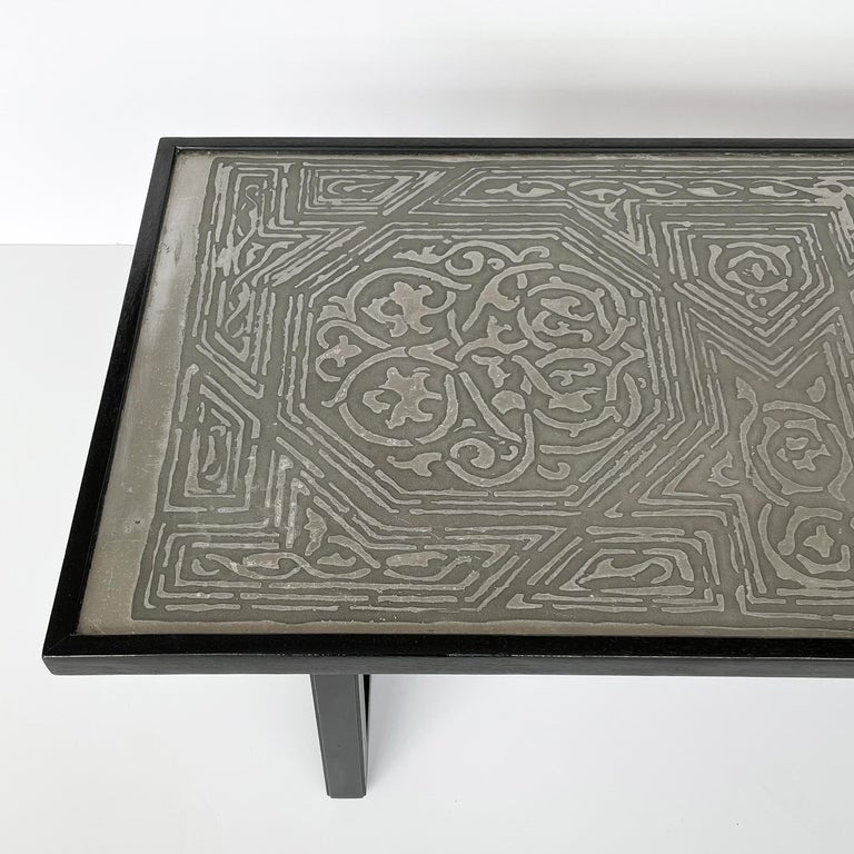 Harvey Probber Etched Metal Top Coffee Table For Sale 9