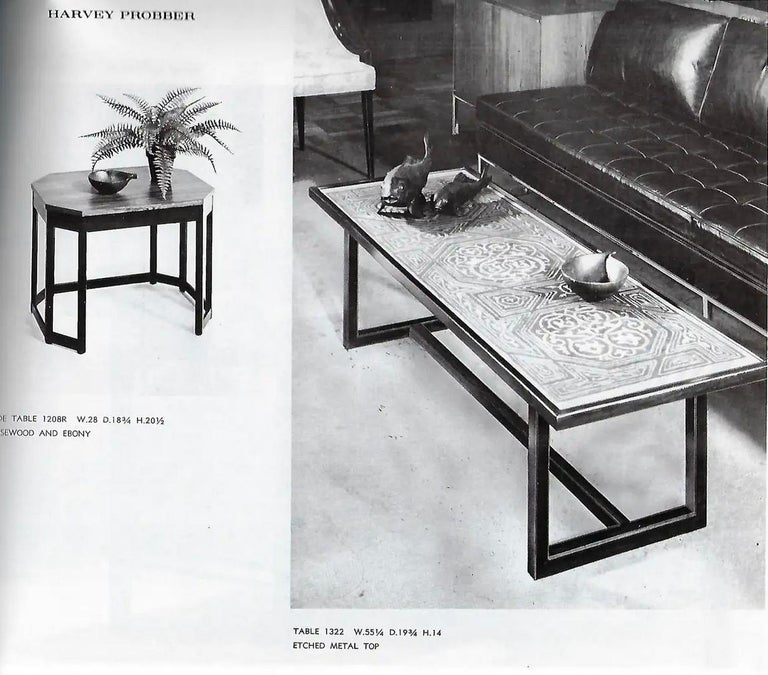 Harvey Probber Etched Metal Top Coffee Table For Sale 10