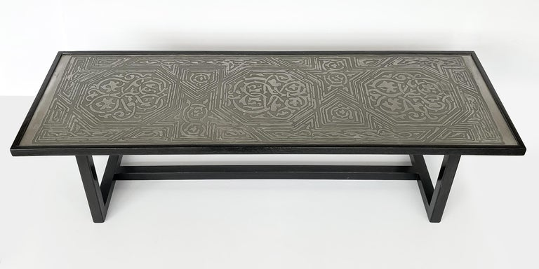 American Harvey Probber Etched Metal Top Coffee Table For Sale
