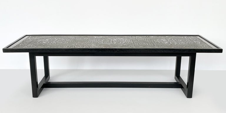 Ebonized Harvey Probber Etched Metal Top Coffee Table For Sale