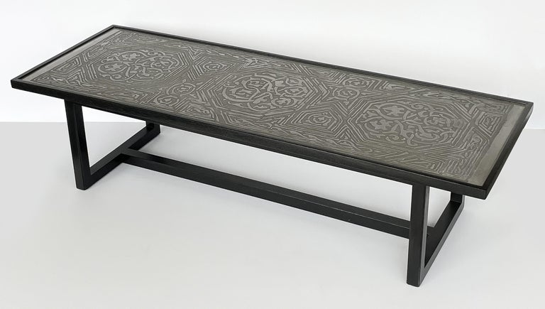Harvey Probber Etched Metal Top Coffee Table In Good Condition For Sale In Chicago, IL