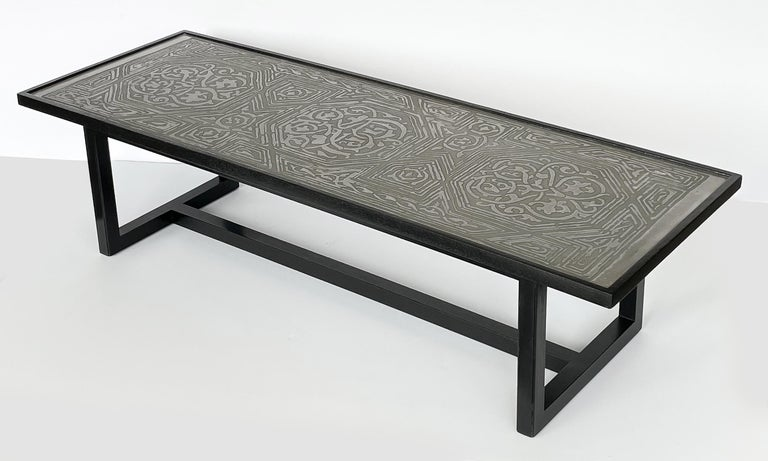 Mid-20th Century Harvey Probber Etched Metal Top Coffee Table For Sale