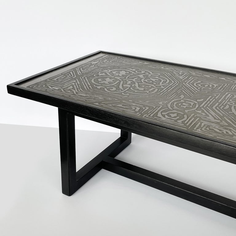 Harvey Probber Etched Metal Top Coffee Table For Sale 1