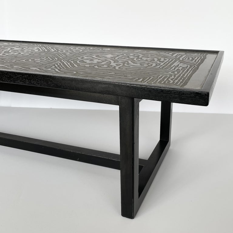 Harvey Probber Etched Metal Top Coffee Table For Sale 2
