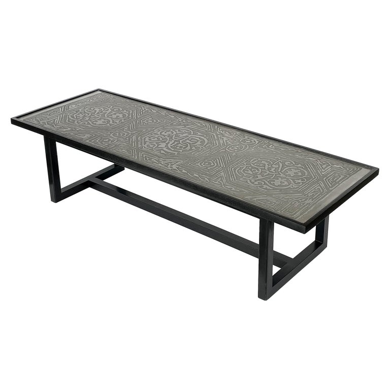 Harvey Probber Etched Metal Top Coffee Table For Sale