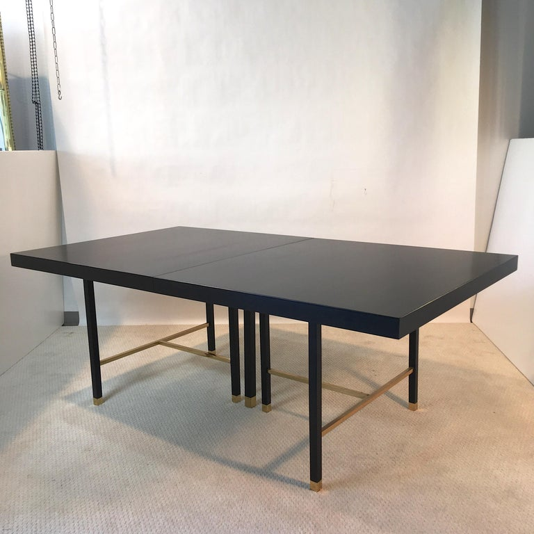 Harvey Probber Extendable Dining Table with Solid Brass Stretchers For Sale 6