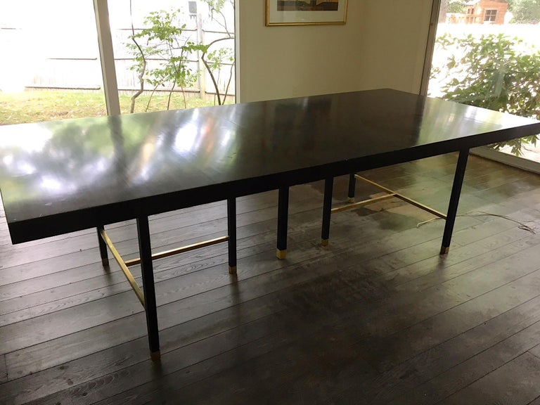 Harvey Probber Extendable Dining Table with Solid Brass Stretchers For Sale 7