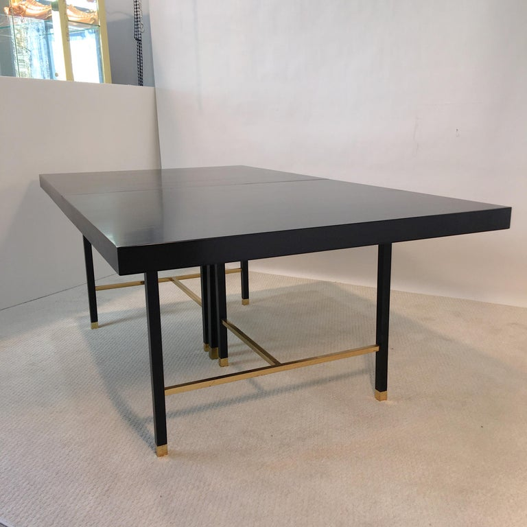 Harvey Probber Extendable Dining Table with Solid Brass Stretchers For Sale 8