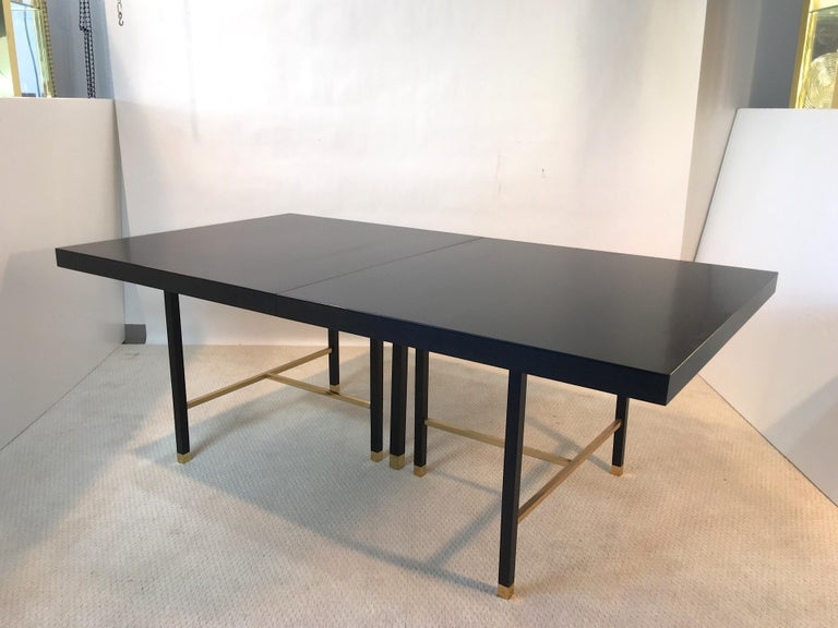 Harvey Probber Extendable Dining Table with Solid Brass Stretchers For Sale 10