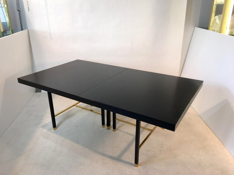 Harvey Probber Extendable Dining Table with Solid Brass Stretchers For Sale 11