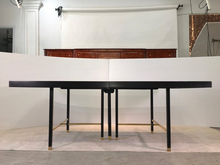 Mid-Century Modern Harvey Probber Extendable Dining Table with Solid Brass Stretchers For Sale