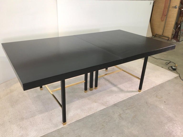 American Harvey Probber Extendable Dining Table with Solid Brass Stretchers For Sale