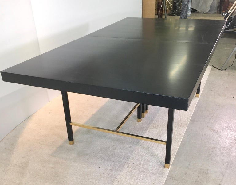 Ebonized Harvey Probber Extendable Dining Table with Solid Brass Stretchers For Sale