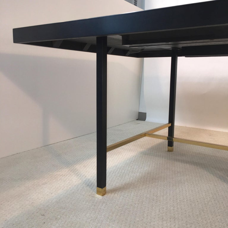 Mid-20th Century Harvey Probber Extendable Dining Table with Solid Brass Stretchers For Sale