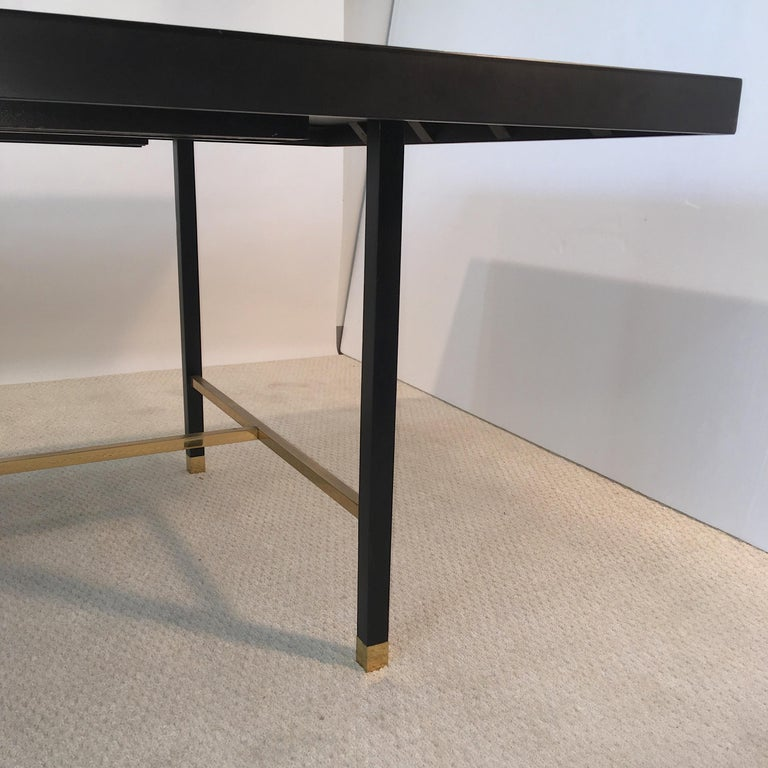 Harvey Probber Extendable Dining Table with Solid Brass Stretchers For Sale 1