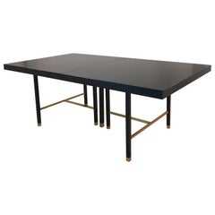 Harvey Probber Extendable Dining Table with Solid Brass Stretchers