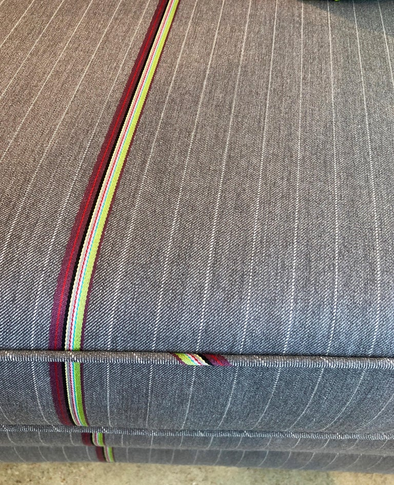 Harvey Probber Gray w/ Red, Blue and Green Pinstripe Lit Curved Lucite Base Sofa For Sale 6