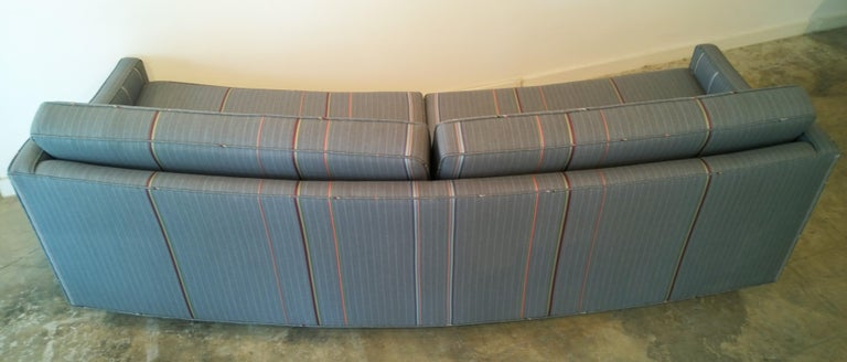 Harvey Probber Gray w/ Red, Blue and Green Pinstripe Lit Curved Lucite Base Sofa For Sale 11