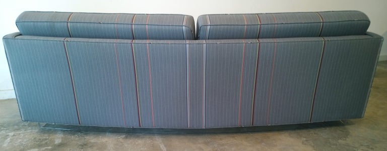 Harvey Probber Gray w/ Red, Blue and Green Pinstripe Lit Curved Lucite Base Sofa For Sale 12