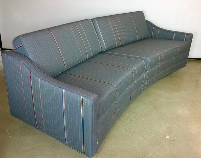 Mid-Century Modern Harvey Probber Gray w/ Red, Blue and Green Pinstripe Lit Curved Lucite Base Sofa For Sale