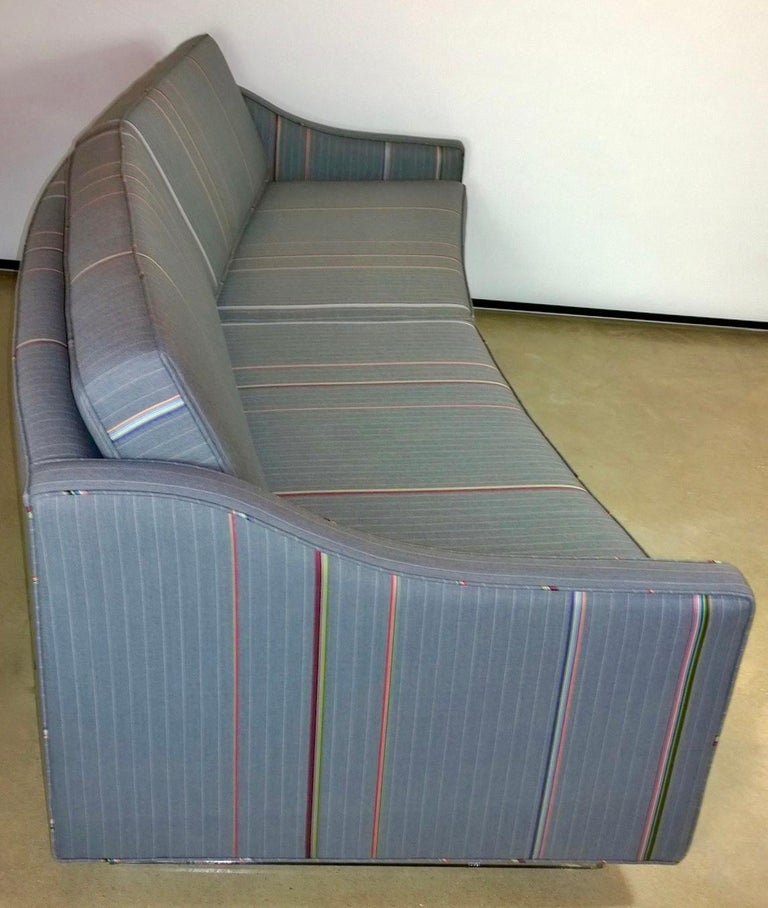 Mid-20th Century Harvey Probber Gray w/ Red, Blue and Green Pinstripe Lit Curved Lucite Base Sofa For Sale