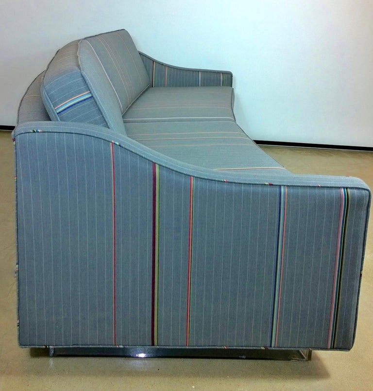 Harvey Probber Gray w/ Red, Blue and Green Pinstripe Lit Curved Lucite Base Sofa For Sale 2