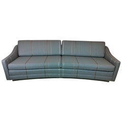 Harvey Probber Gray w/ Red, Blue and Green Pinstripe Lit Curved Lucite Base Sofa
