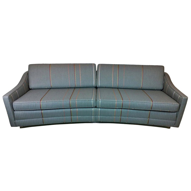 Harvey Probber Gray w/ Red, Blue and Green Pinstripe Lit Curved Lucite Base Sofa For Sale