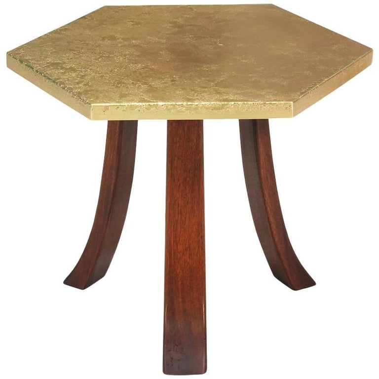 Harvey Probber Hexagonal Brass Top Side Table For Sale At