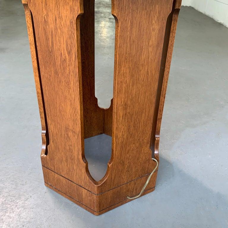 Harvey Probber Style Hexagonal Floor Lamp Side Table For Sale 1