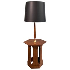 Harvey Probber Style Hexagonal Floor Lamp Side Table