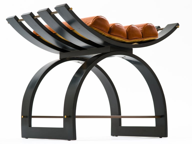 Mid-Century Modern Harvey Probber Knights Bench in Mahogany, Brass and Leather, Signed, 1950s For Sale