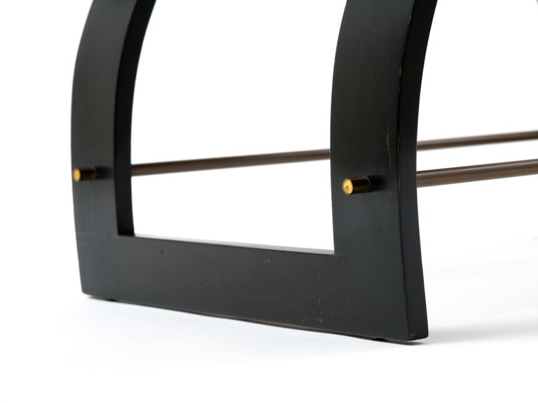 Harvey Probber Knights Bench in Mahogany, Brass and Leather, Signed, 1950s For Sale 1