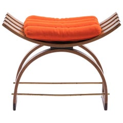 Harvey Probber Knights Mahogany Bench with Original Orange Cushion, circa 1959