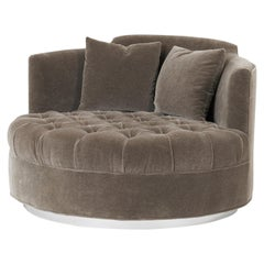Harvey Probber Large Tufted Swivel Chair on Chrome Base