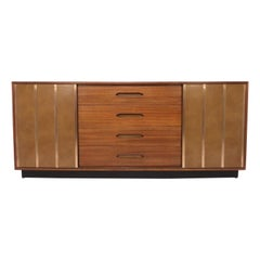 Harvey Probber Leather and Mahogany Credenza or Dresser, circa 1960s