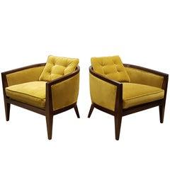 Harvey Probber Lounge Chairs in Tea Green Velvet, 1960s