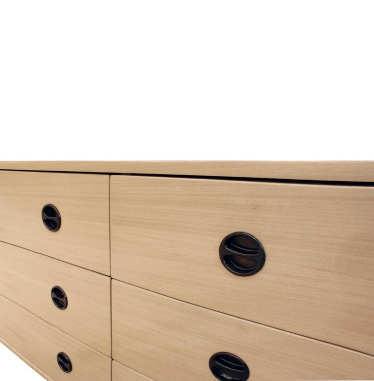 American Harvey Probber Low Chest of Drawers with Inset Rosewood Pulls, 1950s For Sale
