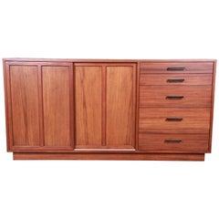 Harvey Probber Mahogany Sideboard Credenza or Bar Cabinet, Newly Restored