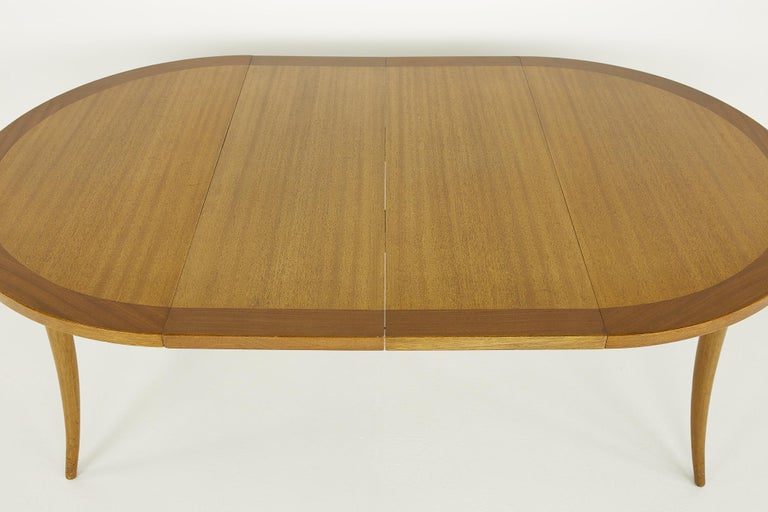 Harvey Probber MCM Saber Leg Extension Bleached Mahogany Dining Table For Sale 8