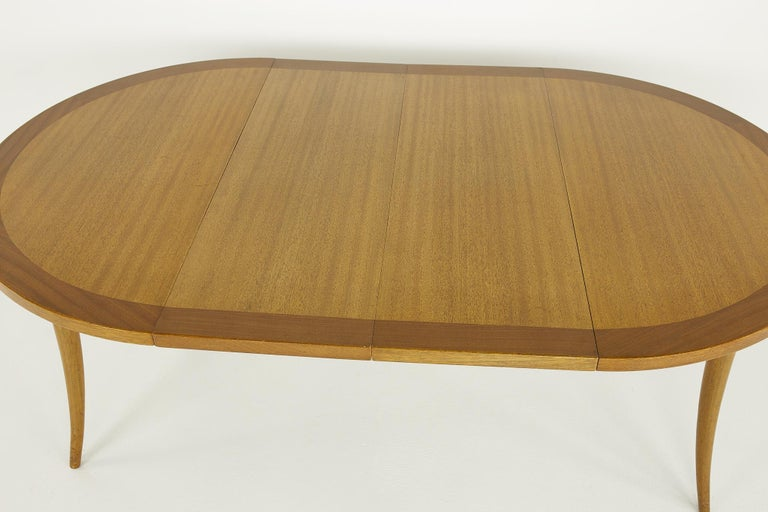 Harvey Probber MCM Saber Leg Extension Bleached Mahogany Dining Table For Sale 9